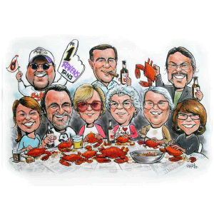 Group Caricatures - Rick Wright and Co.